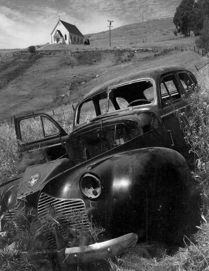 car and barn