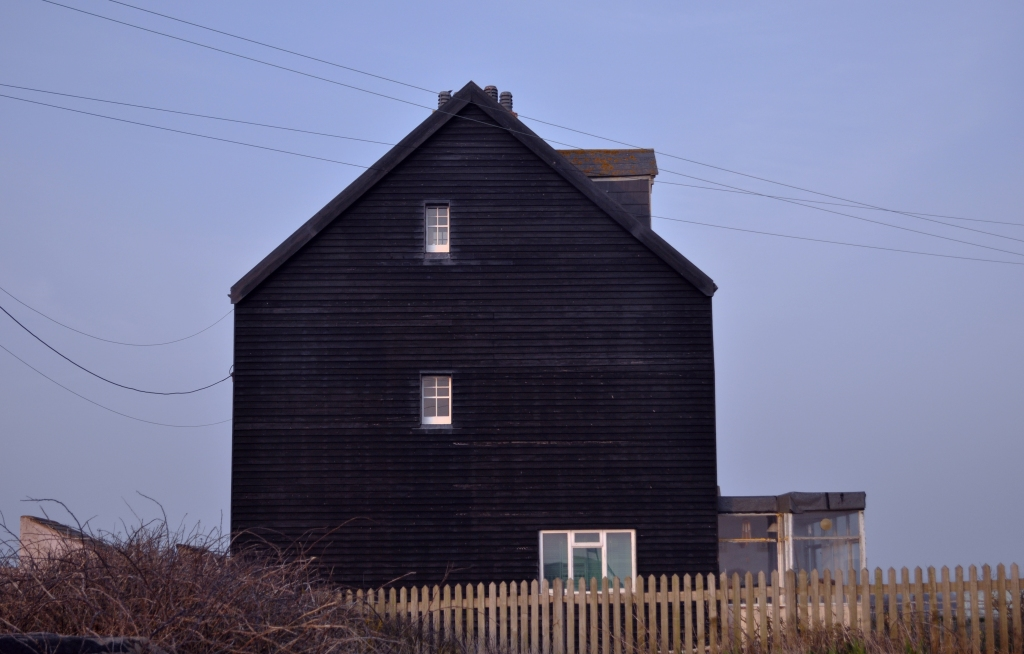 black boarded house on beach