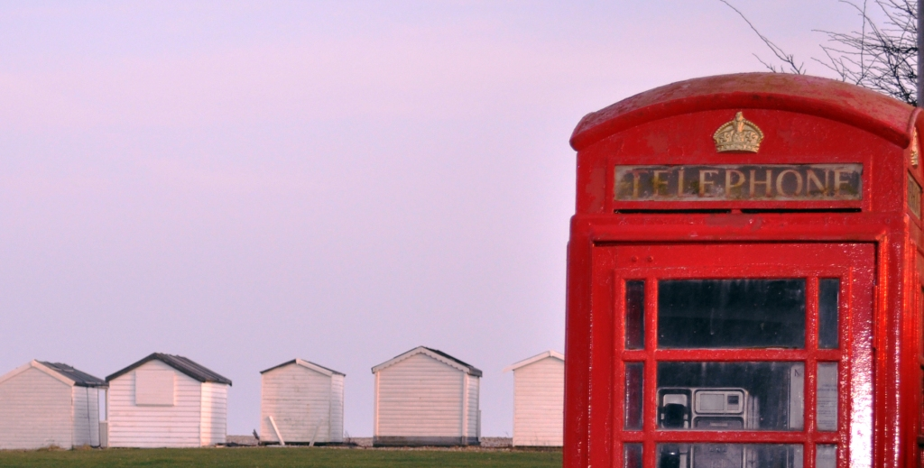 telephone box and beach huts