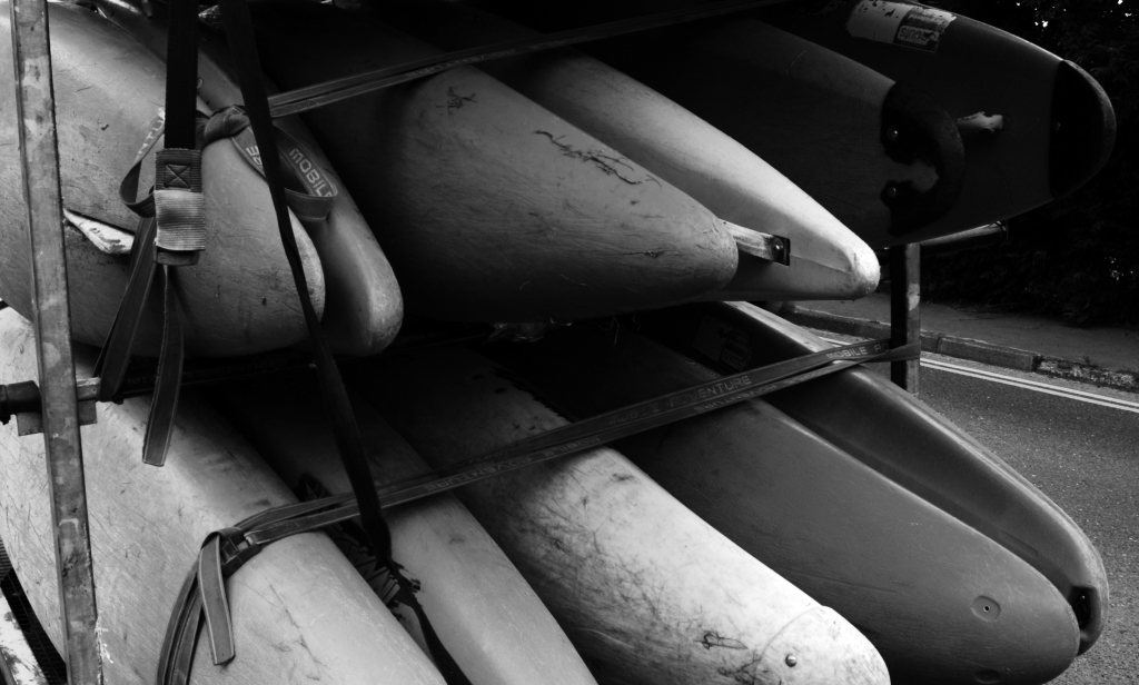 loaded kayaks