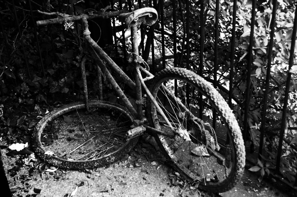 rusty bicycle bw