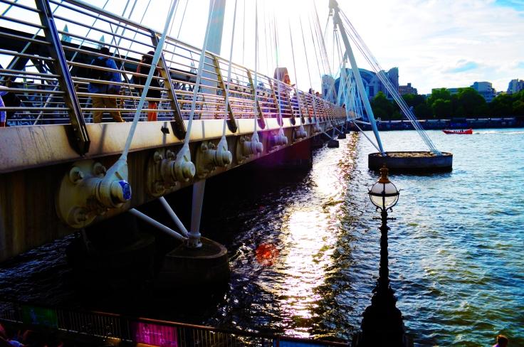 Sun down on the bridge.