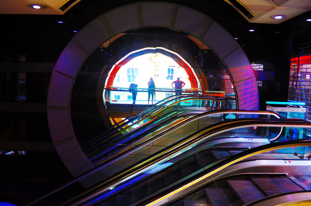 Disco on the escalator.