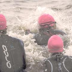 Into the fray of a triathlon swim.