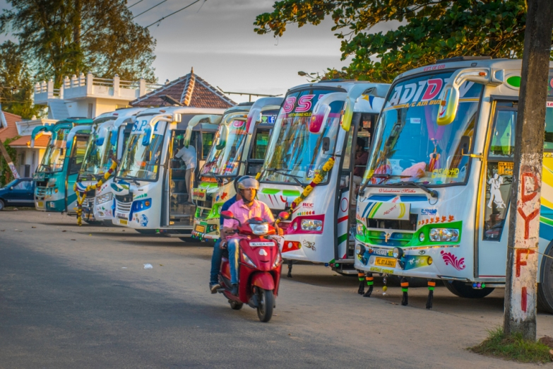 Brightly coloured buses